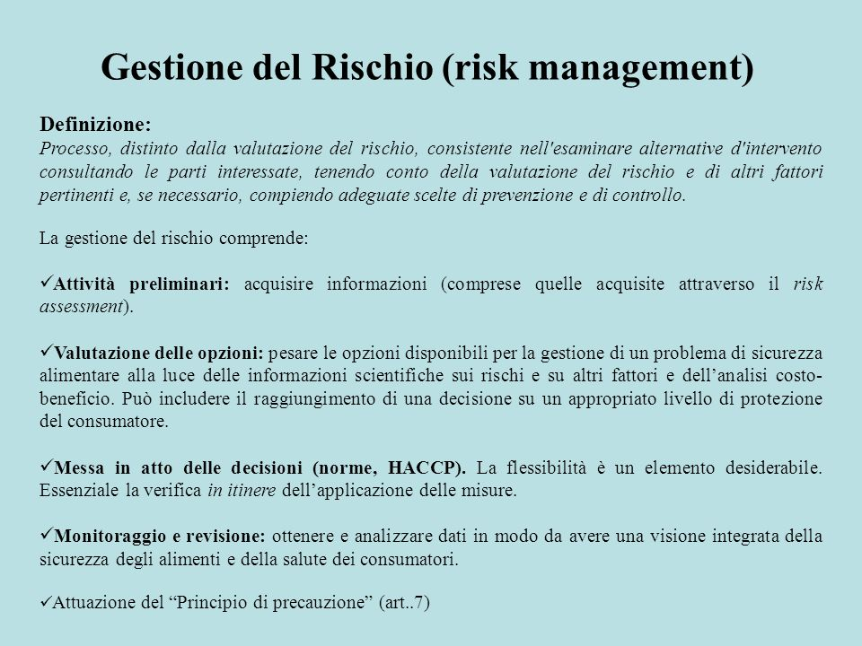 Gestione del Rischio (risk management)
