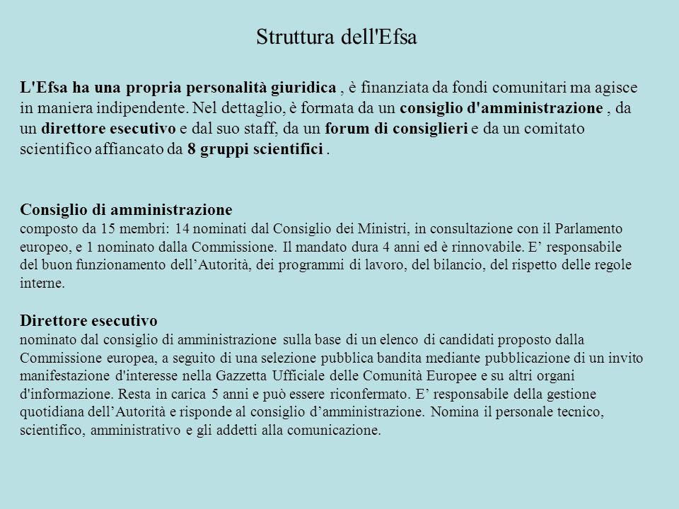 Struttura dell Efsa L Efsa ha una propria personalità giuridica , è finanziata da fondi comunitari ma agisce.