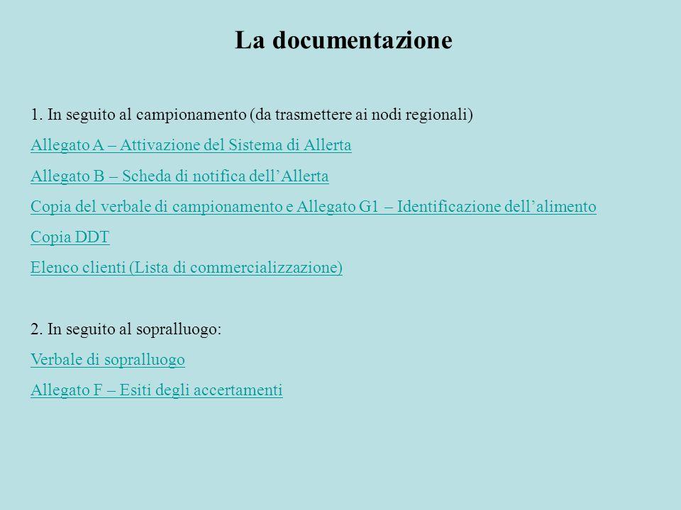 La documentazione 1. In seguito al campionamento (da trasmettere ai nodi regionali) Allegato A – Attivazione del Sistema di Allerta.