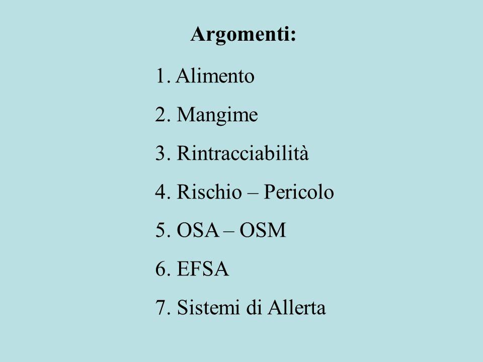 Argomenti: 1. Alimento. 2. Mangime. 3. Rintracciabilità. 4. Rischio – Pericolo. 5. OSA – OSM. 6. EFSA.