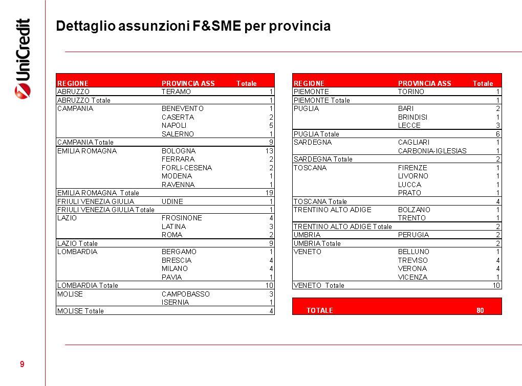 Dettaglio assunzioni F&SME per provincia