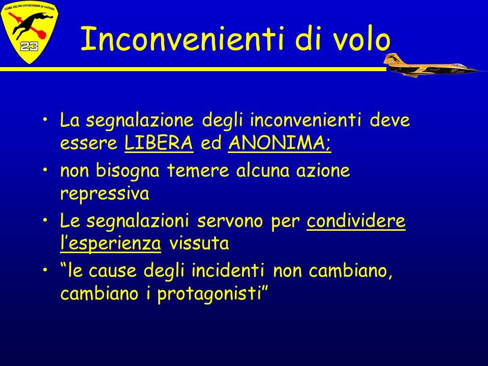 Inconvenienti di volo La segnalazione degli inconvenienti deve essere LIBERA ed ANONIMA; non bisogna temere alcuna azione repressiva.
