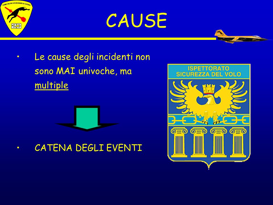 CAUSE Le cause degli incidenti non sono MAI univoche, ma multiple