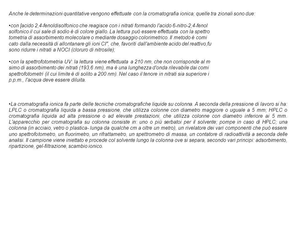 Anche le determinazioni quantitative vengono effettuate con la cromatografia ionica; quelle tra zionali sono due: