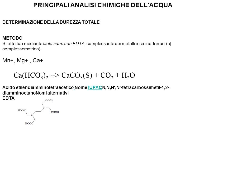 PRINCIPALI ANALISI CHIMICHE DELL ACQUA