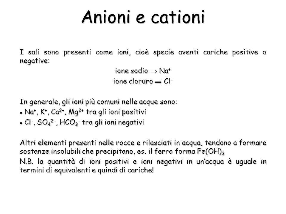 Anioni e cationi I sali sono presenti come ioni, cioè specie aventi cariche positive o negative: ione sodio  Na+