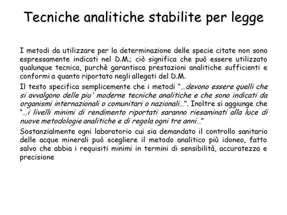 Tecniche analitiche stabilite per legge