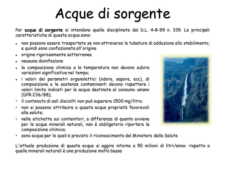 Acque di sorgente Per acque di sorgente si intendono quelle disciplinate dal D.L. 4-8-99 n. 339. Le principali caratteristiche di queste acque sono: