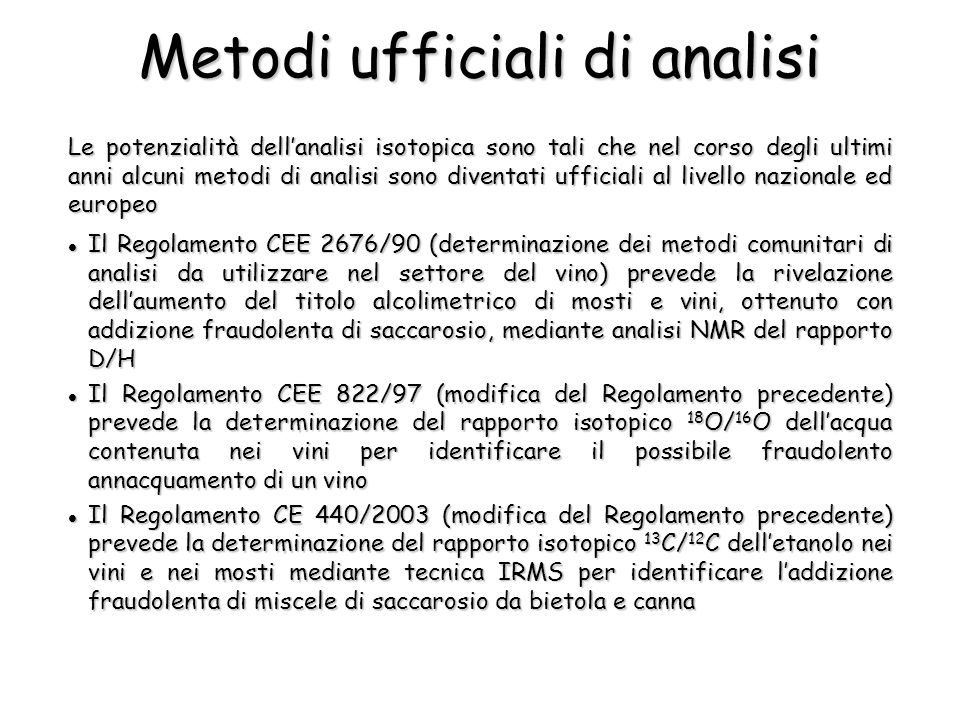 Metodi ufficiali di analisi