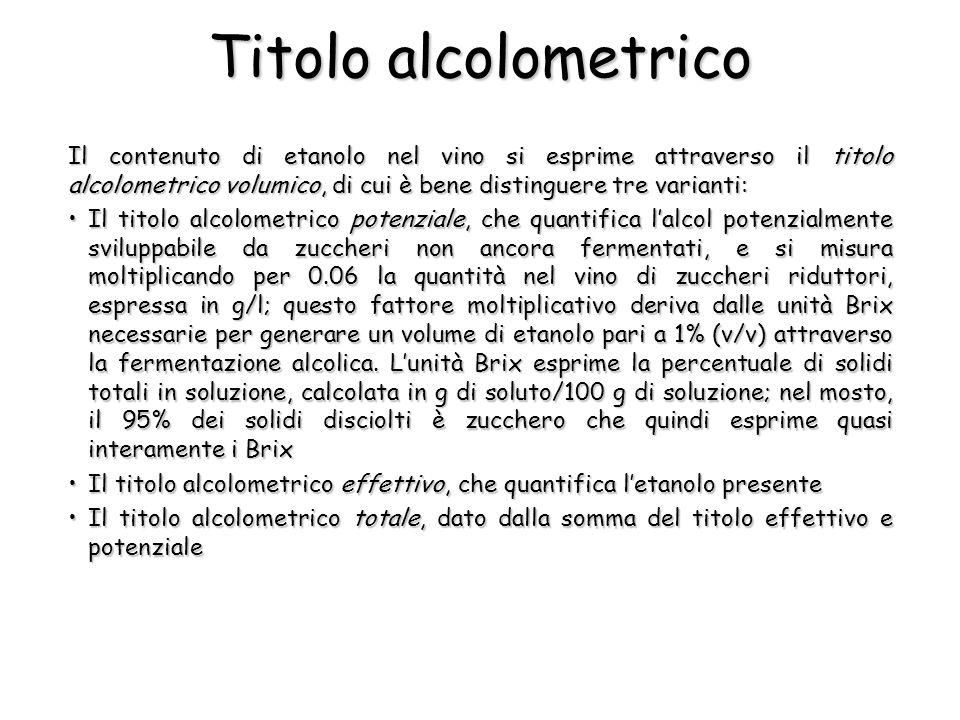 Titolo alcolometrico Il contenuto di etanolo nel vino si esprime attraverso il titolo alcolometrico volumico, di cui è bene distinguere tre varianti: