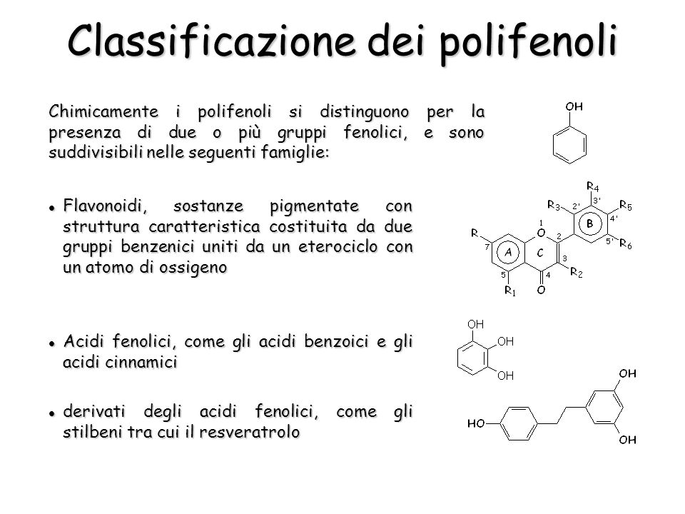 Classificazione dei polifenoli