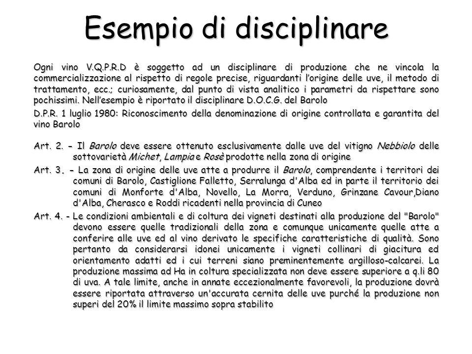 Esempio di disciplinare