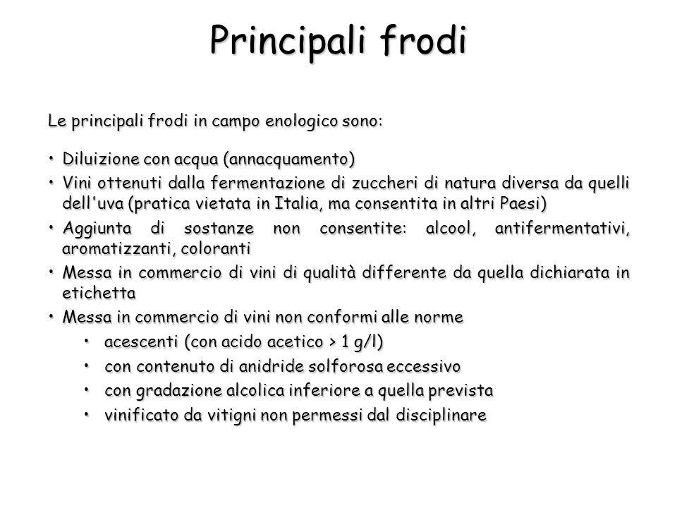 Principali frodi Le principali frodi in campo enologico sono: