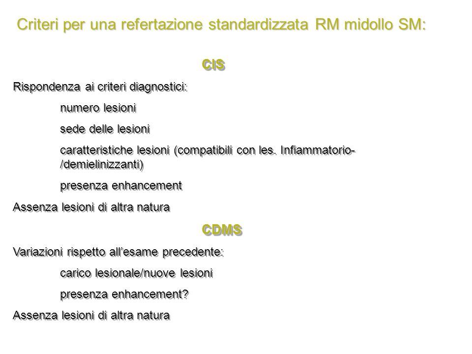 Criteri per una refertazione standardizzata RM midollo SM: