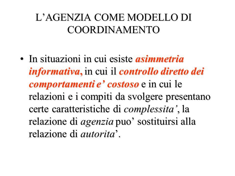 L'AGENZIA COME MODELLO DI COORDINAMENTO