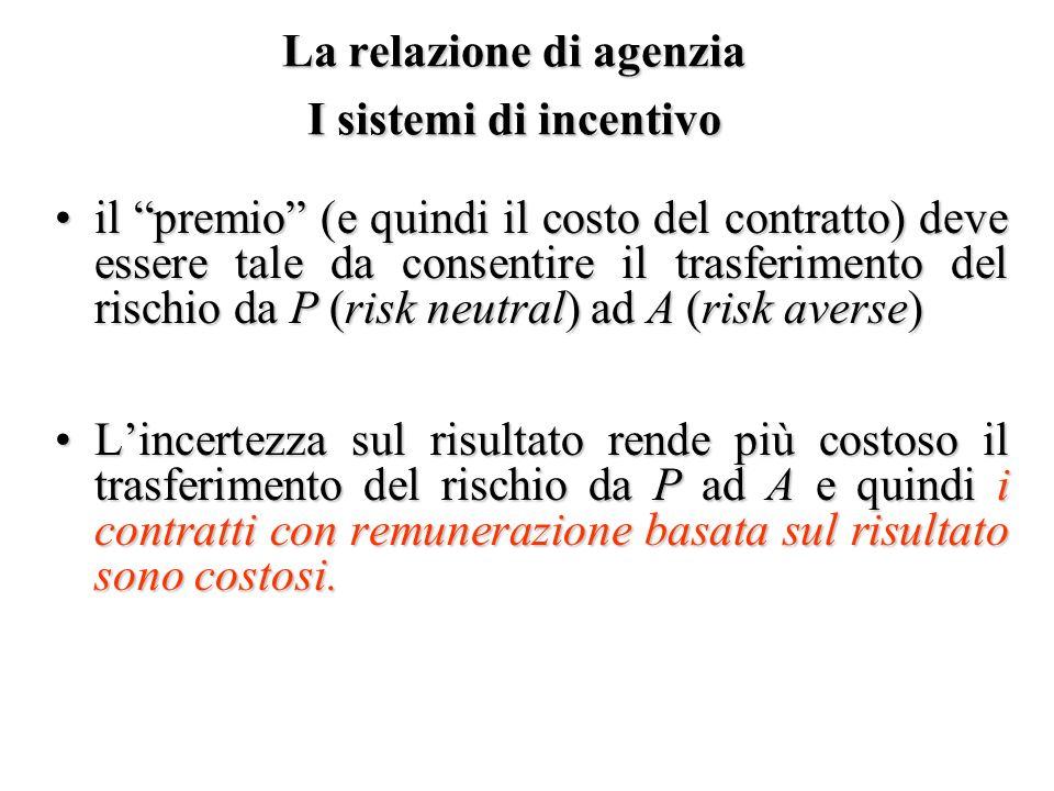 La relazione di agenzia I sistemi di incentivo