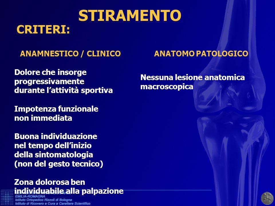 STIRAMENTO CRITERI: ANAMNESTICO / CLINICO ANATOMO PATOLOGICO