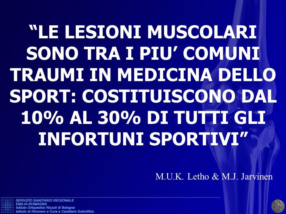 LE LESIONI MUSCOLARISONO TRA I PIU' COMUNI TRAUMI IN MEDICINA DELLO SPORT: COSTITUISCONO DAL 10% AL 30% DI TUTTI GLI INFORTUNI SPORTIVI