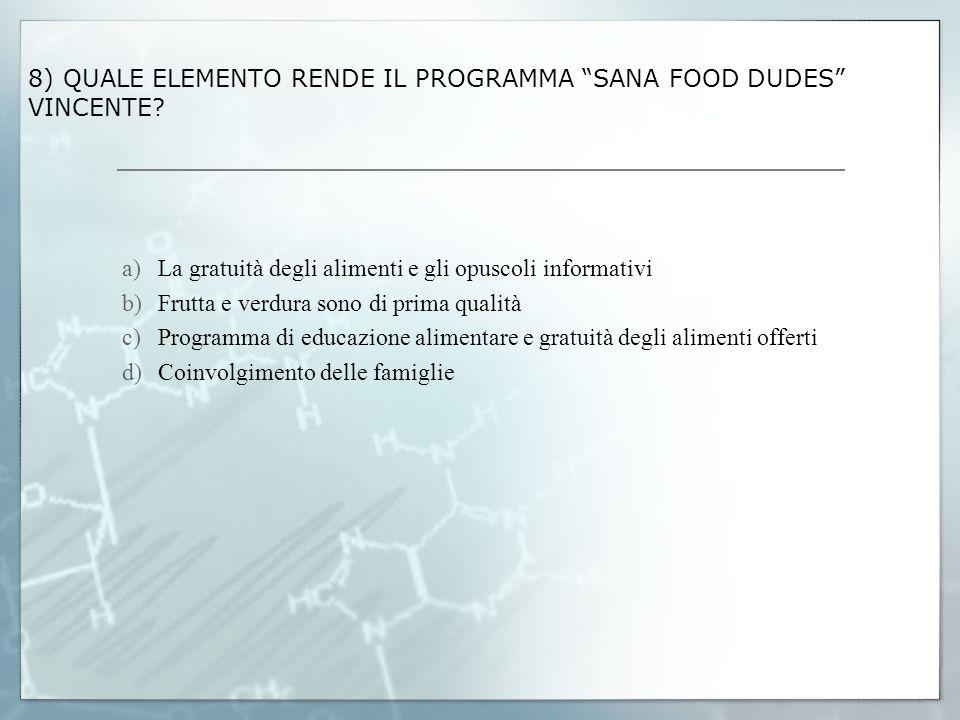 8) QUALE ELEMENTO RENDE IL PROGRAMMA SANA FOOD DUDES VINCENTE