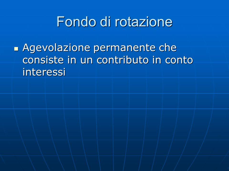 Fondo di rotazione Agevolazione permanente che consiste in un contributo in conto interessi