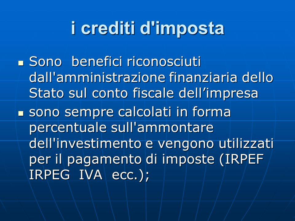 i crediti d impostaSono benefici riconosciuti dall amministrazione finanziaria dello Stato sul conto fiscale dell'impresa.