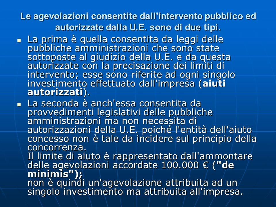 Le agevolazioni consentite dall intervento pubblico ed autorizzate dalla U.E. sono di due tipi.