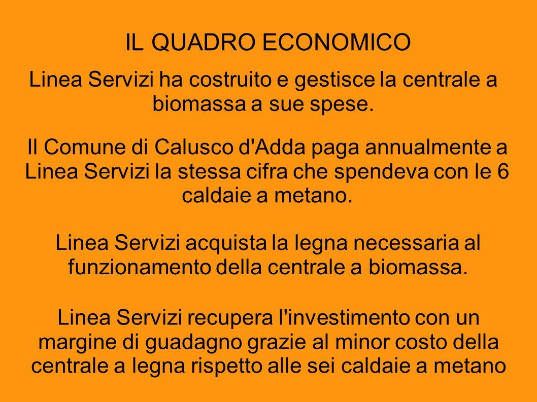 IL QUADRO ECONOMICO Linea Servizi ha costruito e gestisce la centrale a biomassa a sue spese.