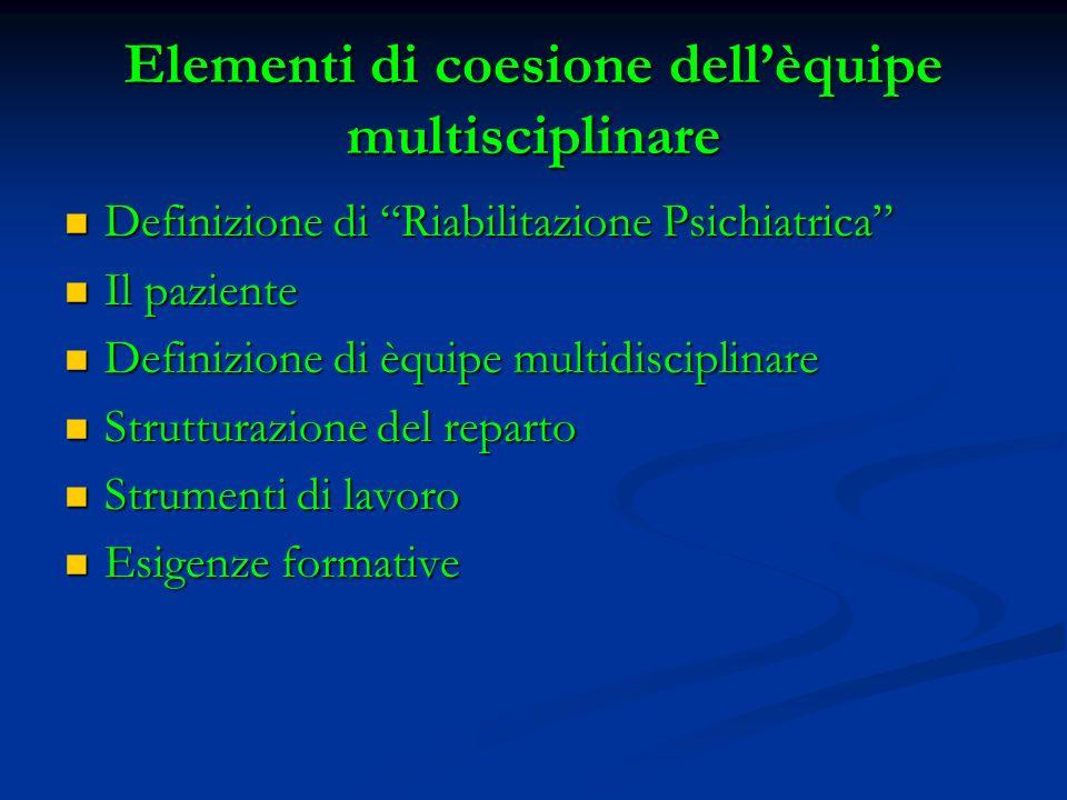 Elementi di coesione dell'èquipe multisciplinare