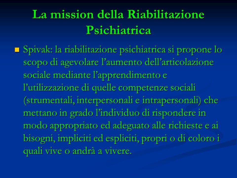 La mission della Riabilitazione Psichiatrica