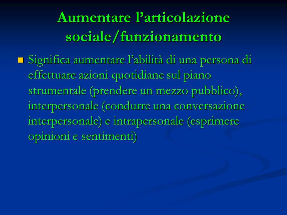Aumentare l'articolazione sociale/funzionamento