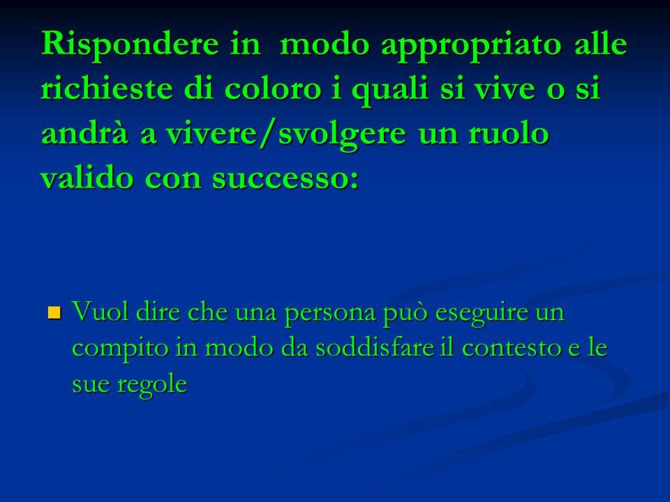 Rispondere in modo appropriato alle richieste di coloro i quali si vive o si andrà a vivere/svolgere un ruolo valido con successo: