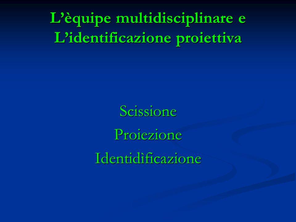 L'èquipe multidisciplinare e L'identificazione proiettiva