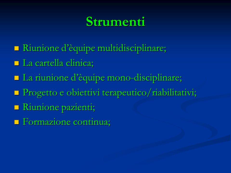 Strumenti Riunione d'èquipe multidisciplinare; La cartella clinica;