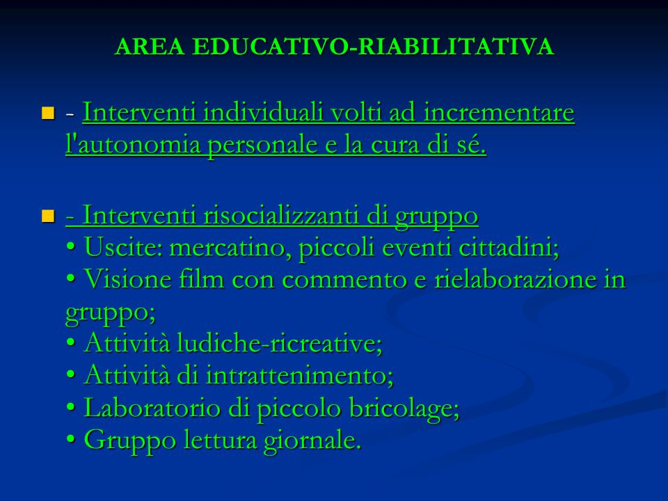 AREA EDUCATIVO-RIABILITATIVA