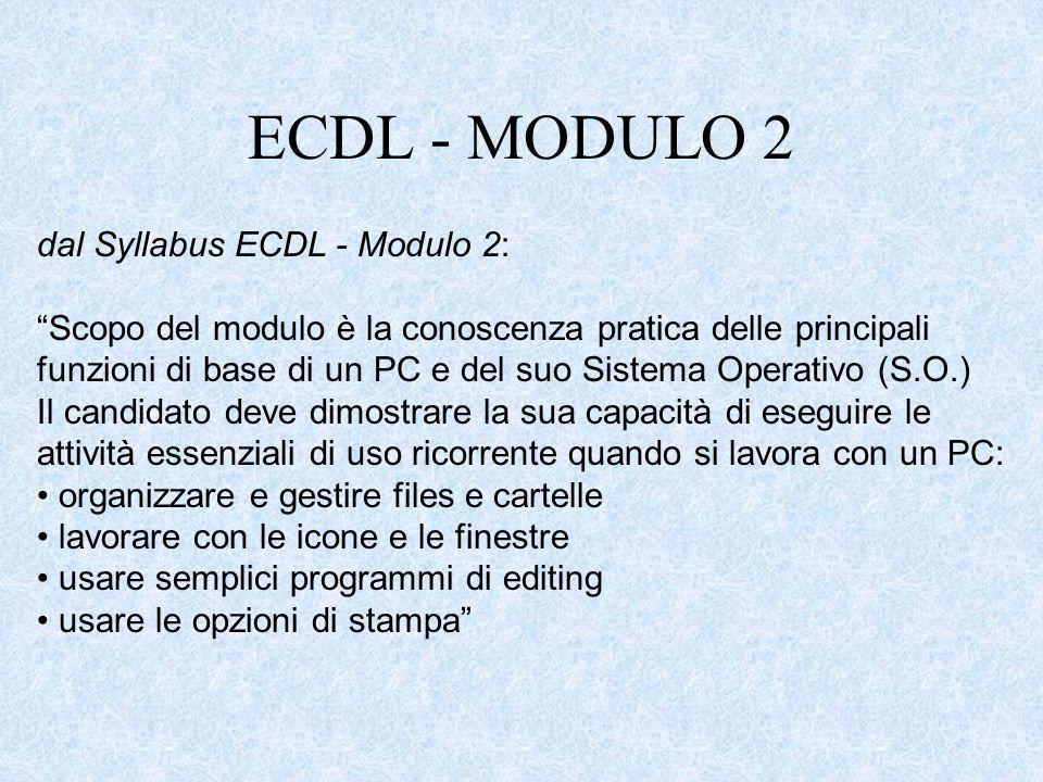 ECDL - MODULO 2 dal Syllabus ECDL - Modulo 2: