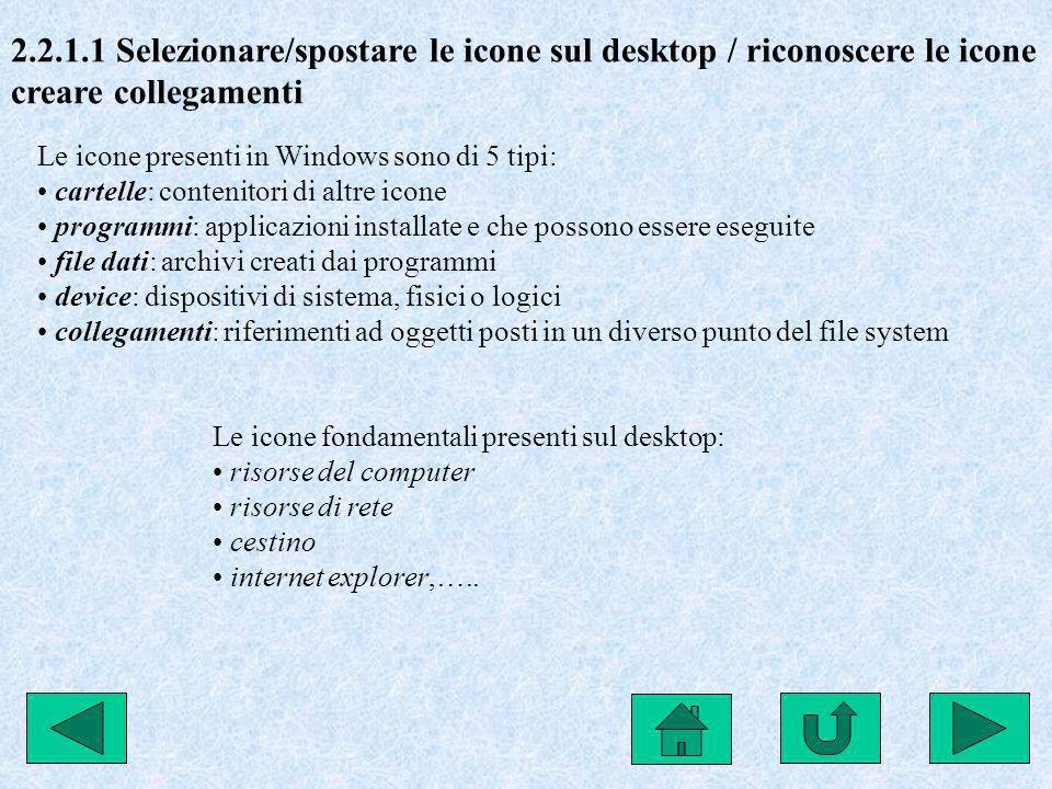 2.2.1.1 Selezionare/spostare le icone sul desktop / riconoscere le icone