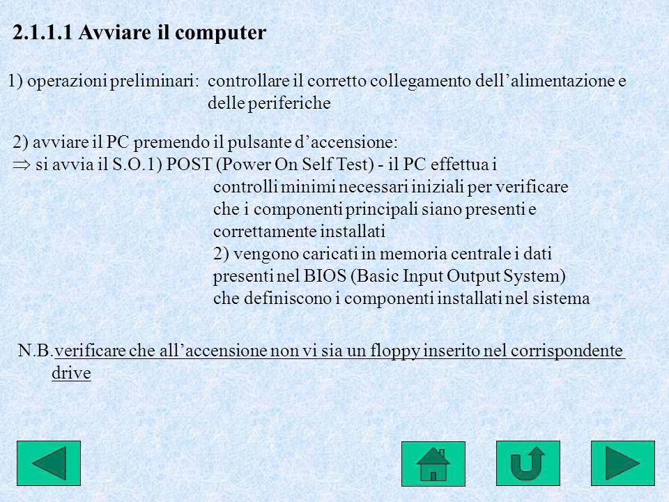 2.1.1.1 Avviare il computer 1) operazioni preliminari: controllare il corretto collegamento dell'alimentazione e.