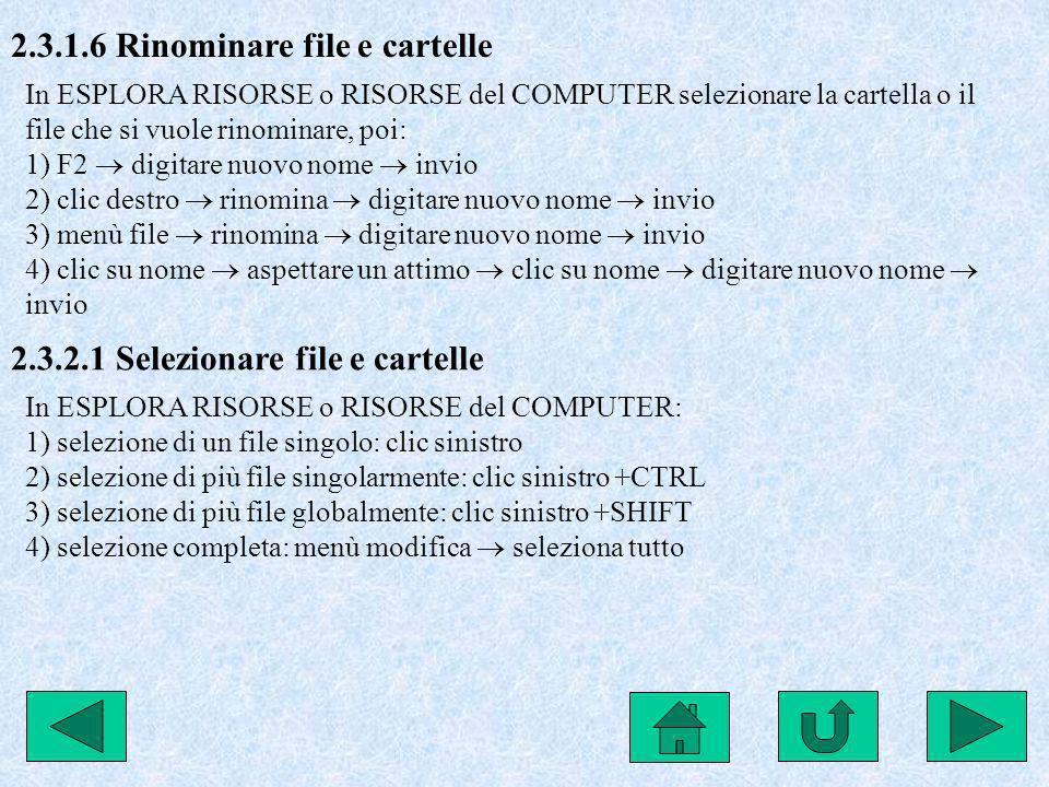 2.3.1.6 Rinominare file e cartelle