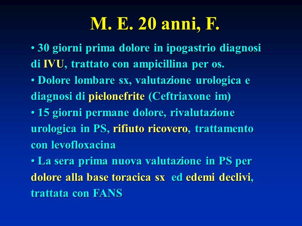 M. E. 20 anni, F. 30 giorni prima dolore in ipogastrio diagnosi di IVU, trattato con ampicillina per os.