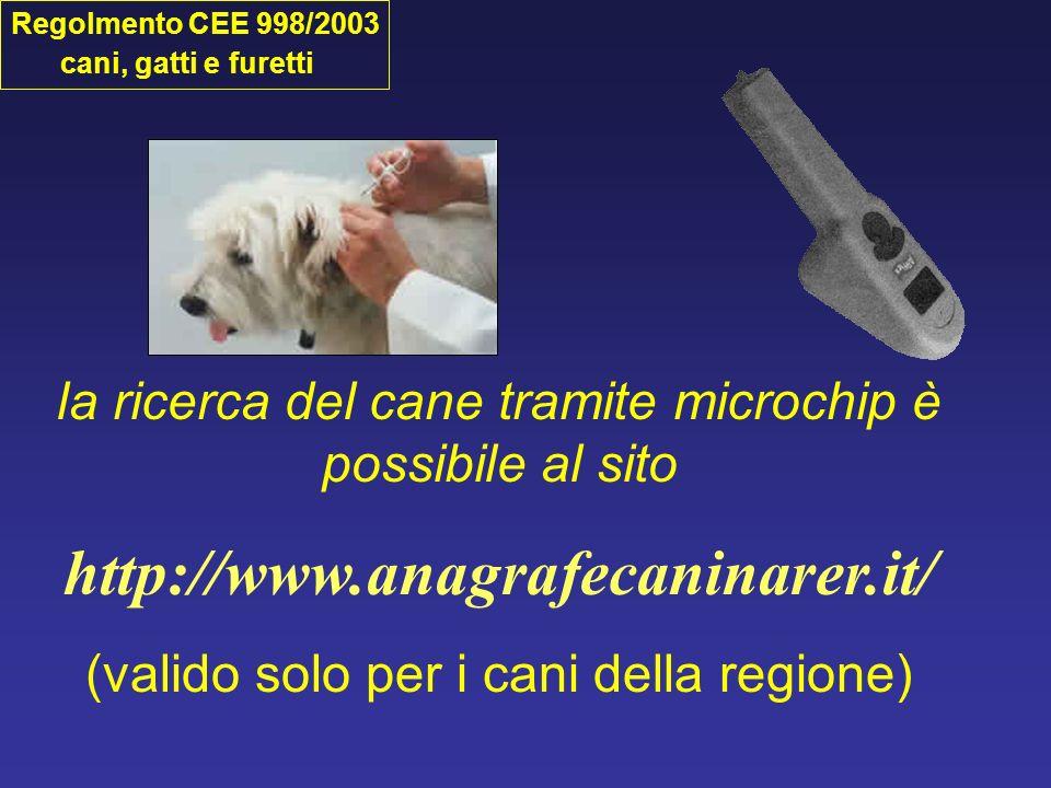 Regolmento CEE 998/2003 cani, gatti e furetti. la ricerca del cane tramite microchip è possibile al sito.
