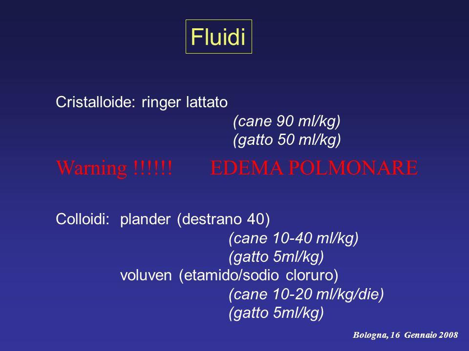 Fluidi Warning !!!!!! EDEMA POLMONARE Cristalloide: ringer lattato