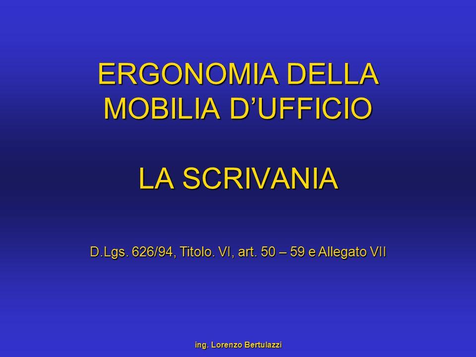 ERGONOMIA DELLA MOBILIA D'UFFICIO LA SCRIVANIA
