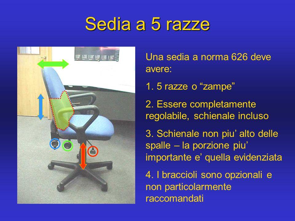 Sedia a 5 razze Una sedia a norma 626 deve avere: 5 razze o zampe