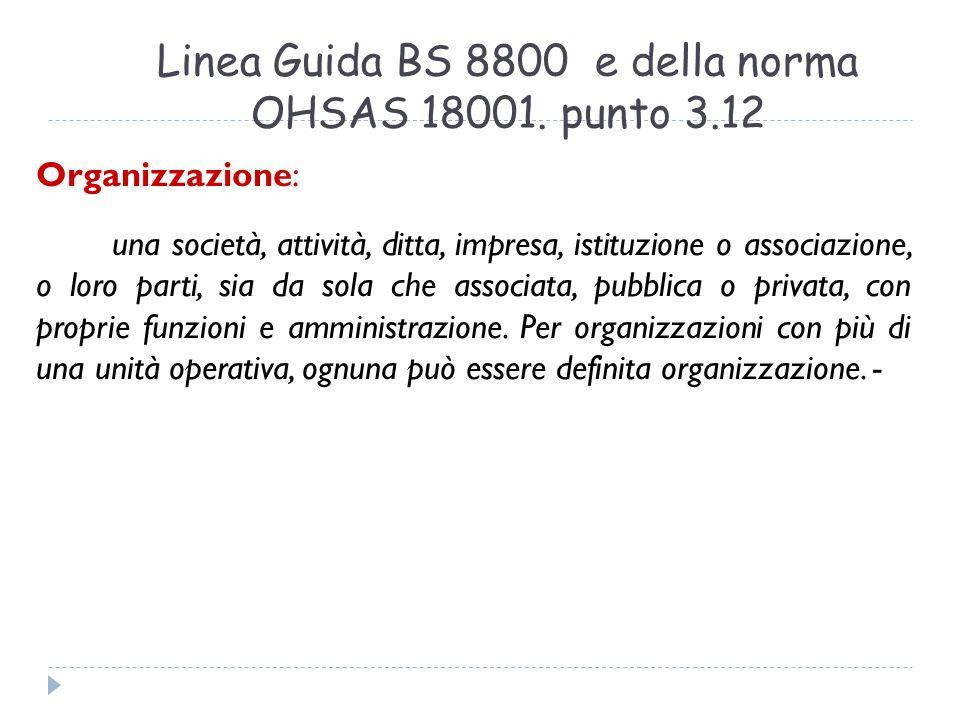 Linea Guida BS 8800 e della norma OHSAS 18001. punto 3.12