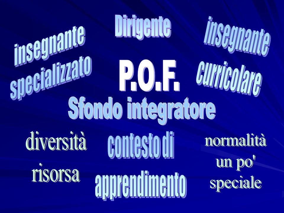 Dirigente insegnante. specializzato. insegnante. curricolare. P.O.F. Sfondo integratore. diversità.