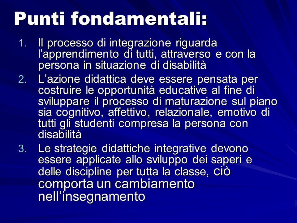 Punti fondamentali:Il processo di integrazione riguarda l'apprendimento di tutti, attraverso e con la persona in situazione di disabilità.