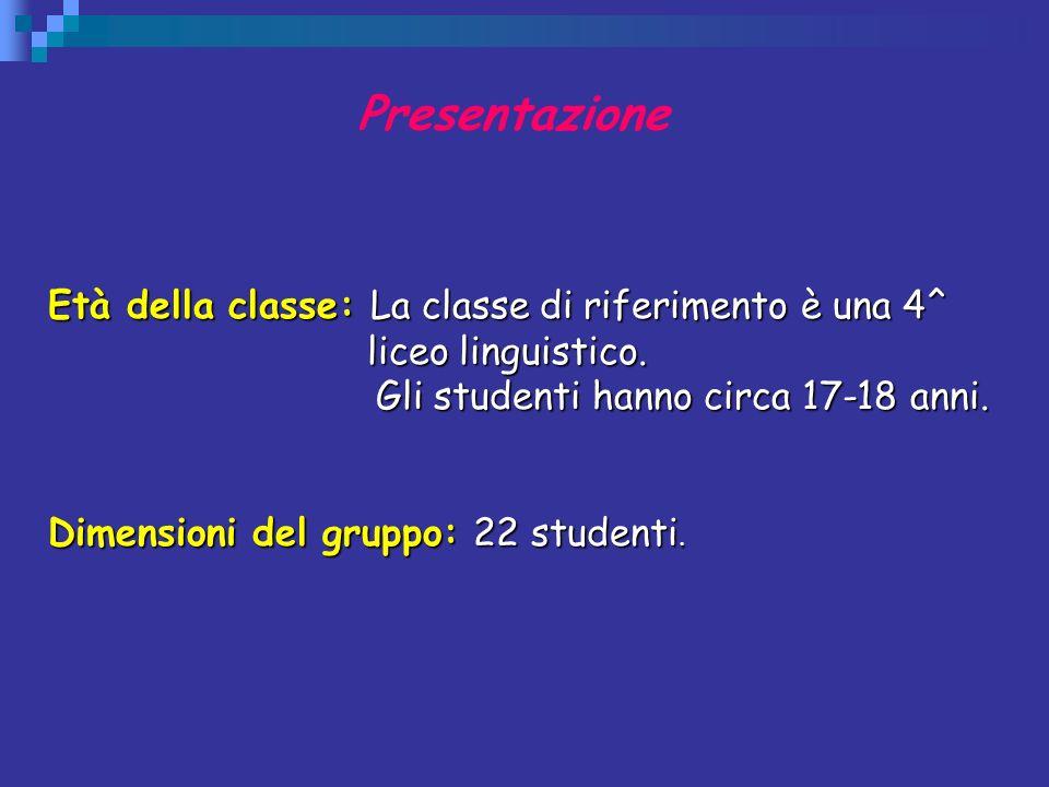 Presentazione Età della classe: La classe di riferimento è una 4^ liceo linguistico. Gli studenti hanno circa 17-18 anni.