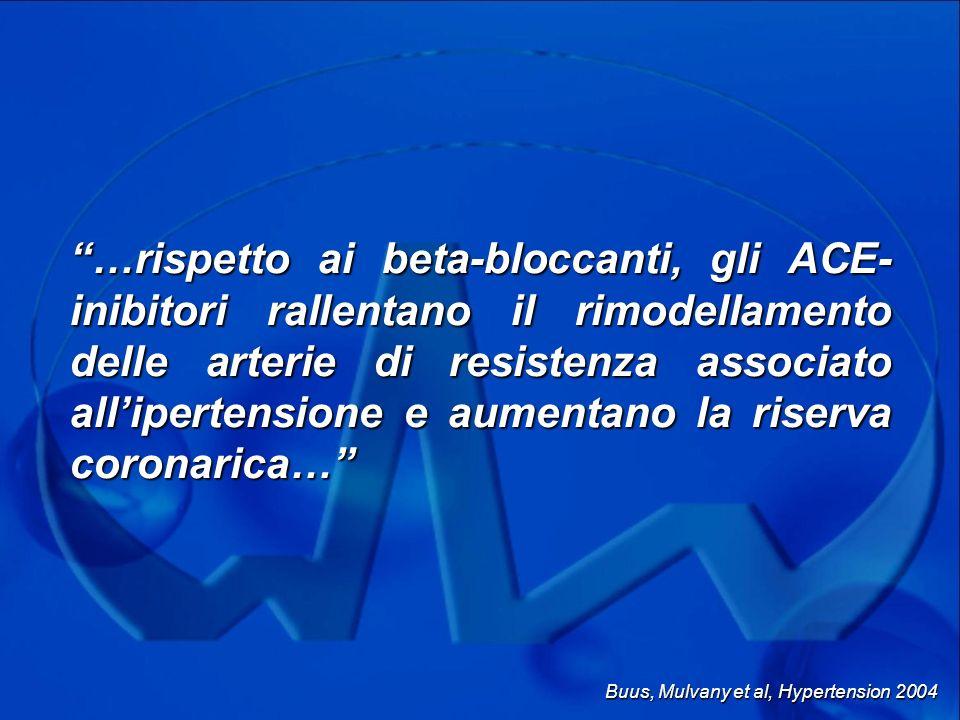 …rispetto ai beta-bloccanti, gli ACE-inibitori rallentano il rimodellamento delle arterie di resistenza associato all'ipertensione e aumentano la riserva coronarica…