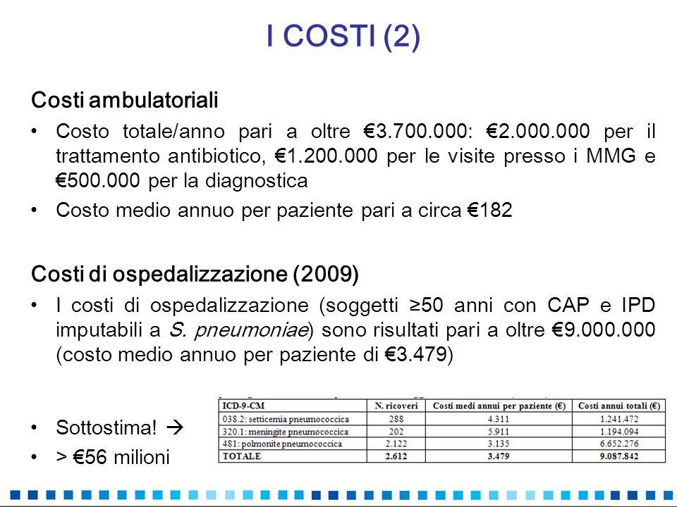 I COSTI (2) Costi ambulatoriali Costi di ospedalizzazione (2009)