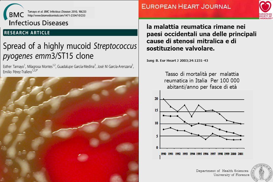 la malattia reumatica rimane nei paesi occidentali una delle principali cause di stenosi mitralica e di sostituzione valvolare.